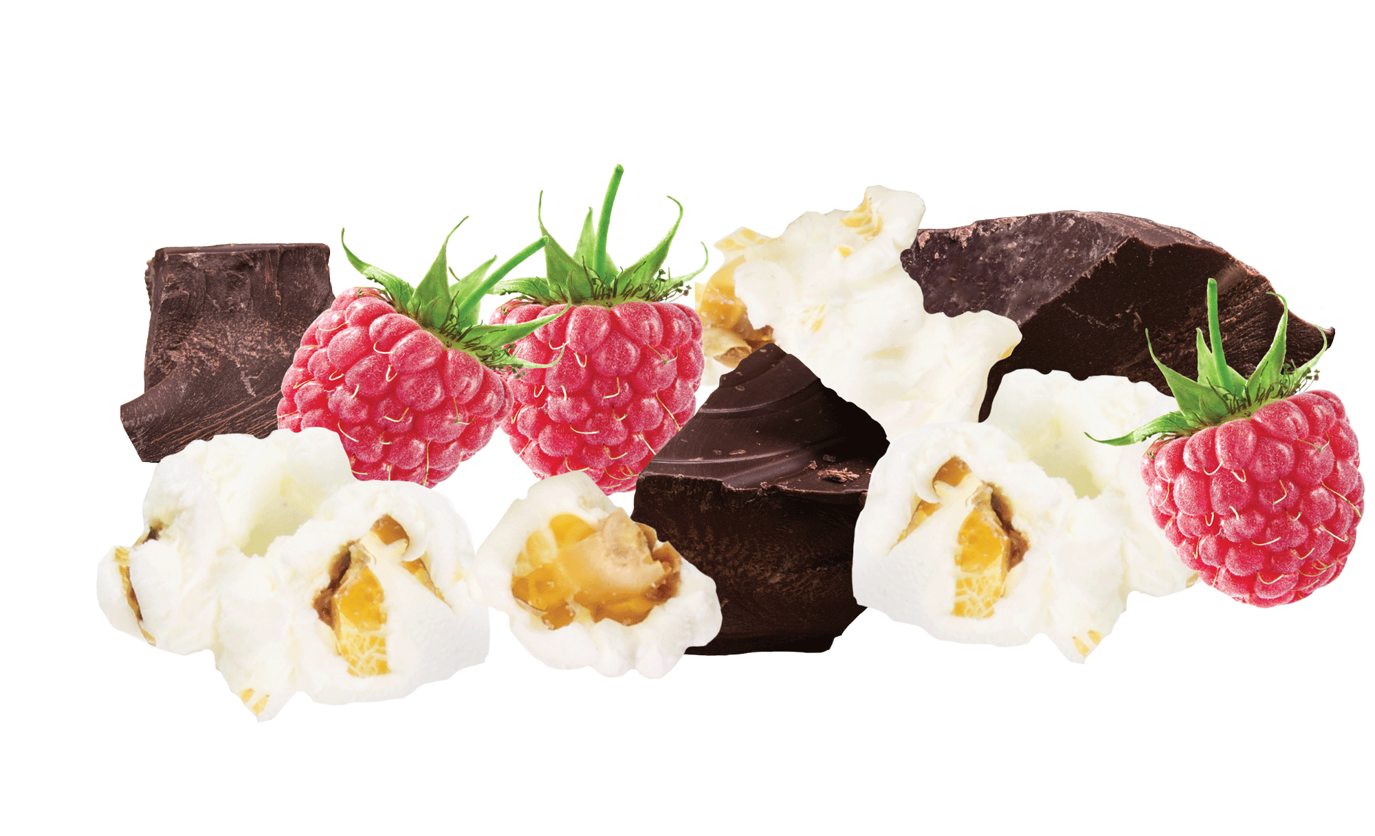 raspberry & dark chocolate popcorn bar